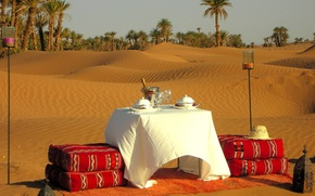 Picture sand, palm trees, romance, candles, exotic, dinner, Morocco, romantic dinner