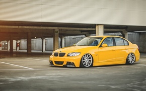 Picture BMW, BMW, Parking, yellow, yellow, suspension, 3 series, E90