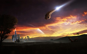 Picture sunset, the city, field, ship, planet, protein, pioneer