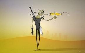 Picture flower, desert, sword, postapocalyptic