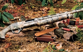 Wallpaper GRASS, CARTRIDGES, The GUN, HUNTING, Vinci, INVENTORY), FOREST, Benelli