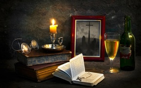 Picture photo, books, candle, cross, The pastor's abode