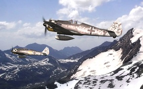 Picture the sky, snow, mountains, figure, tops, art, fighter-bombers, Focke Wulf, Fw-190, WW2, German