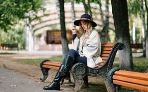 Picture girl, bench, face, Park, hair, hat, boots