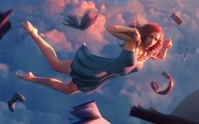Picture the sky, girl, clouds, sleep, headphones, dress, book, art, gamepad