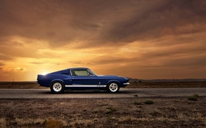 Picture car, sunset, Ford, ford mustang, muscle car, gt500, rechange