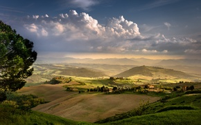 Picture the evening, Italy, Tuscany, rural landscape