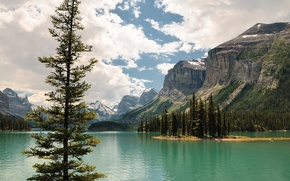 Picture the sky, clouds, trees, mountains, lake, island, Canada, Albert, Jasper, Maligne Lake