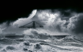 Picture SEA, The OCEAN, NIGHT, ELEMENT, The MOON, WAVE, SQUIRT, PIER, PIERCE, CRANE, STORM, FOAM, The …