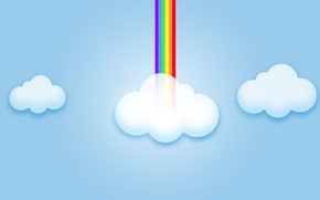 Wallpaper rainbow, the sky, computer graphics, clouds