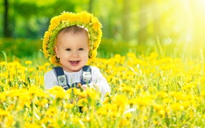 Picture smile, dandelions, wreath, child, sunlight