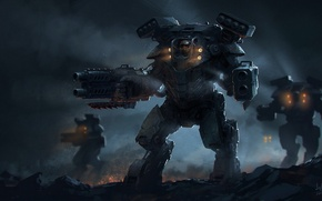 Picture night, weapons, robots, art, mechwarrior