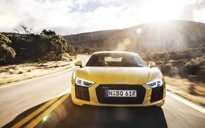 Picture road, machine, the sun, glare, Audi, the front, V10