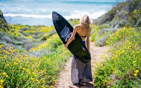 Picture sea, girl, Board