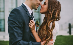 Picture girl, profile, guy, lovers, curls