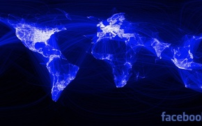 Picture network, the world, map, facebook, connection, social