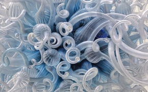 Picture curls, blue, glass, white, figure