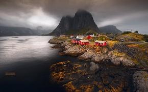 Picture sea, autumn, mountains, Norway, town, settlement, archipelago, The Lofoten Islands, fylke Nordland, the municipality of …