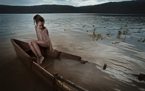 Picture girl, boat, stop