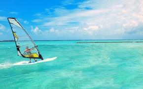 Wallpaper sea, the sky, clouds, horizon, sail, Board, Windsurfing
