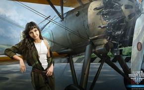 Picture girl, jumpsuit, biplane, World of Warplanes