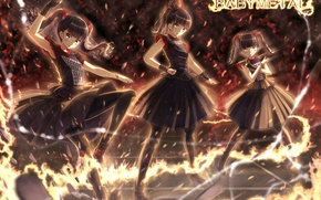 Picture girls, fire, anime, art, babymeta
