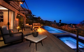 Picture landscape, house, sofa, fire, furniture, pool, chairs, Jacuzzi, evening.