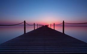 Picture sea, the sky, the sun, sunset, pier, pierce