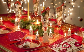 Picture decoration, table, candles, New Year, Christmas, holidays, Christmas, holidays, New Year, candles, table, ornaments