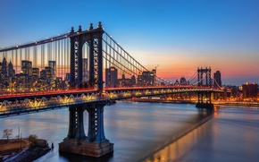 Picture the sky, sunset, lights, reflection, New York, mirror, Manhattan bridge, United States