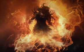 Picture flame, monster, guild wars 2, fire lord