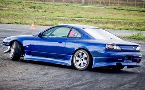 Picture machine, auto, coupe, track, broken, nissan, drift, track, blue, Nissan, silvia, s15, Sylvia