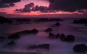 Wallpaper sea, sunset, stones, nature