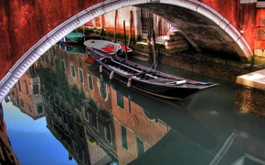 Wallpaper water, bridge, reflection, boat, arch