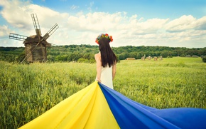 Picture field, the sky, grass, clouds, nature, hair, back, flag, mill, brown hair, Ukraine, Ukrainian