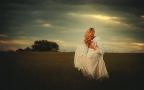 Picture field, girl, hair, dress, TJ Drysdale, Farther Along