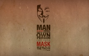 Wallpaper the inscription, Anonymous, texture, quote, mask, Anonymous