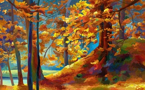 Picture Nature, Figure, Autumn, Trees, Painting