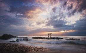 Picture the sky, the sun, clouds, clouds, sunrise, the ocean, shore, coast, morning, gate, Japan, torii