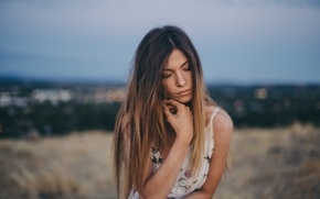 Picture girl, face, pose, hair