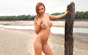 Wallpaper sand, chest, look, trees, landscape, river, model, naked, blur, post, figure, hairstyle, red, Nude, is, ...