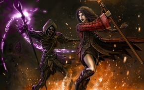 Wallpaper skeleton, death, girl, magic, fantasy, MAG, fire
