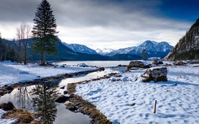 Picture Nature, Winter, Mountains, Lake, Austria, Snow, Spruce, Landscape, Altaussee Styria