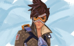 Picture Blizzard, girl, fps, glasses, Overwatch, Tracer, art