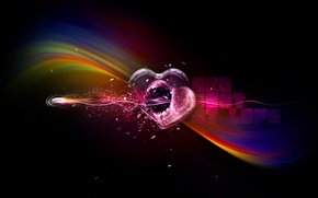 Picture strips, rainbow, heart, bullet, black background, shot through the heart, the shot at love, a …