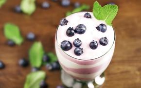 Picture berries, blueberries, fresh, dessert, sweet, dessert, blueberries, berries, yogurt, yogurt