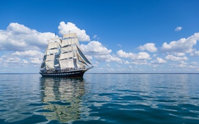 Picture sea, clouds, reflection, ship, sails