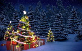 Picture winter, snow, tree, new year, gifts, garland, tinsel, Christmas, night, winter, New Year, gifts