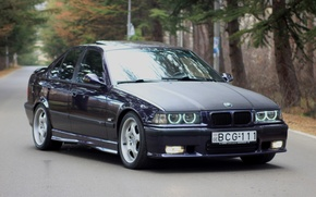 Picture road, lights, tuning, room, BMW, carbon, drives, front, tuning, side, carbon fiber hood, E36, Merab ...