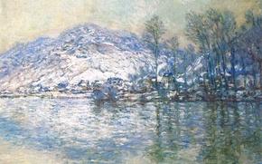 Picture landscape, picture, Claude Monet, The Seine at Port-Villa. Snow Effect